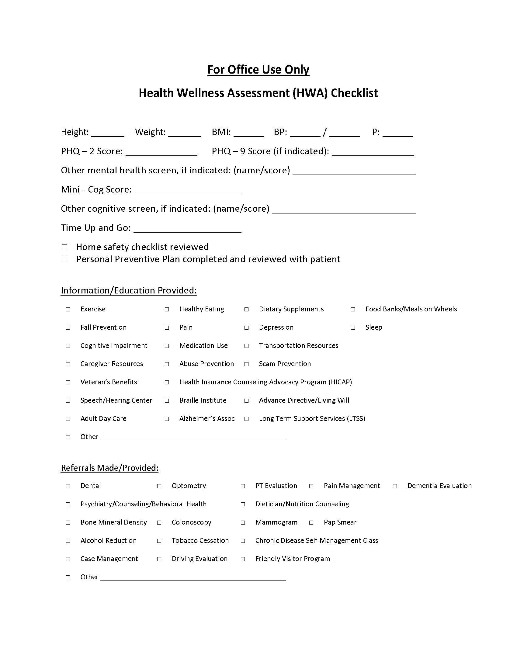 19. b For Office Use Only Health Wellness Assessment HWA